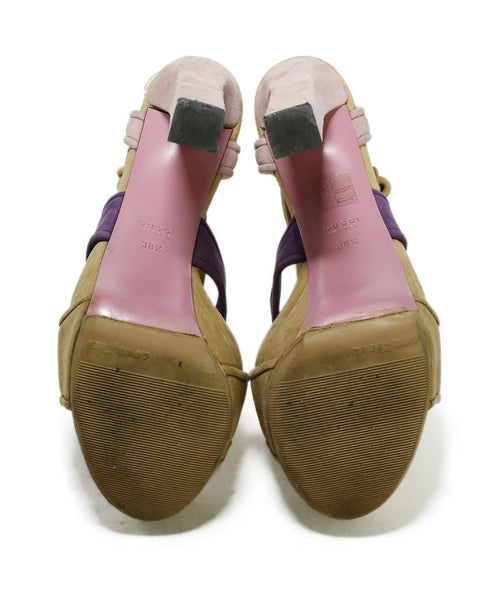 "Gucci Heels US 8.5 Pink Taupe Suede Purple ""as is"" Shoes 5"