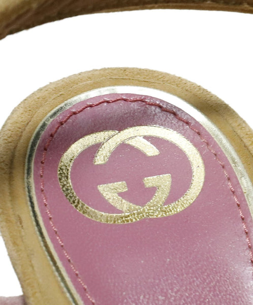 "Gucci Heels US 8.5 Pink Taupe Suede Purple ""as is"" Shoes 7"
