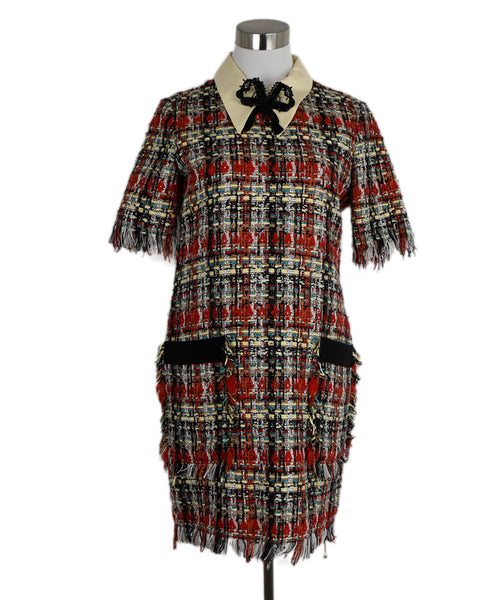 Gucci Red Black Multi Tweed Dress 1