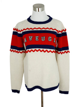 Gucci L'Aveugle Red Blue Ivory Wool Beaded Sweater 1