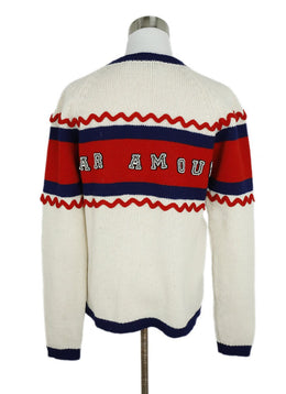 Gucci L'Aveugle Red Blue Ivory Wool Beaded Sweater 2
