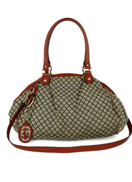 "Gucci Red Burgundy Leather Canvas ""as is"" Handbag 1"