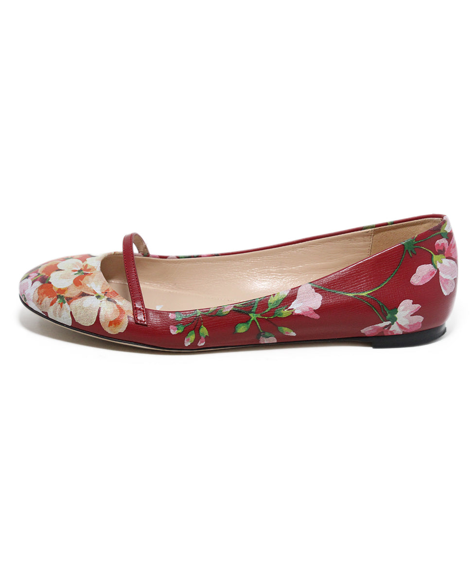 Gucci red floral multi print leather flats 2