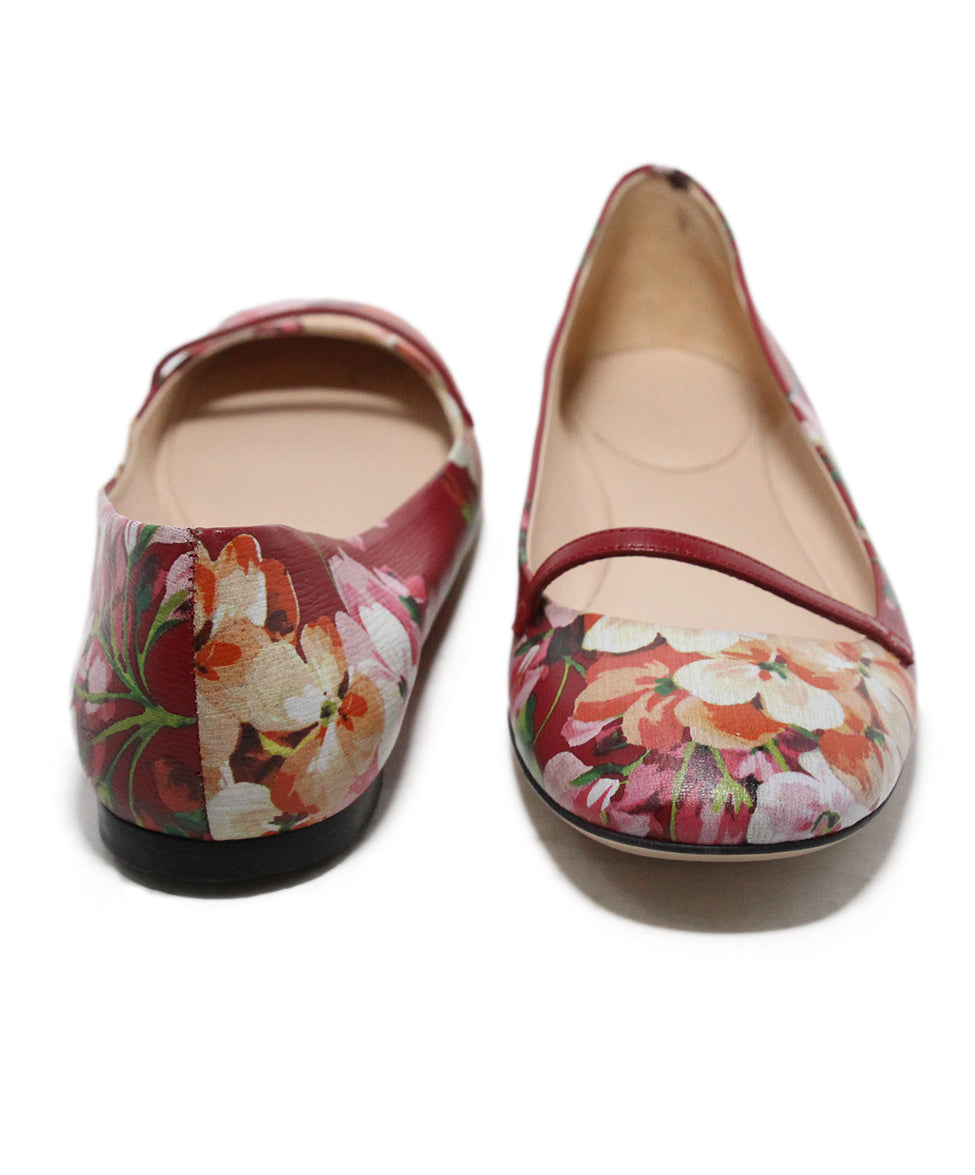 Gucci red floral multi print leather flats 3