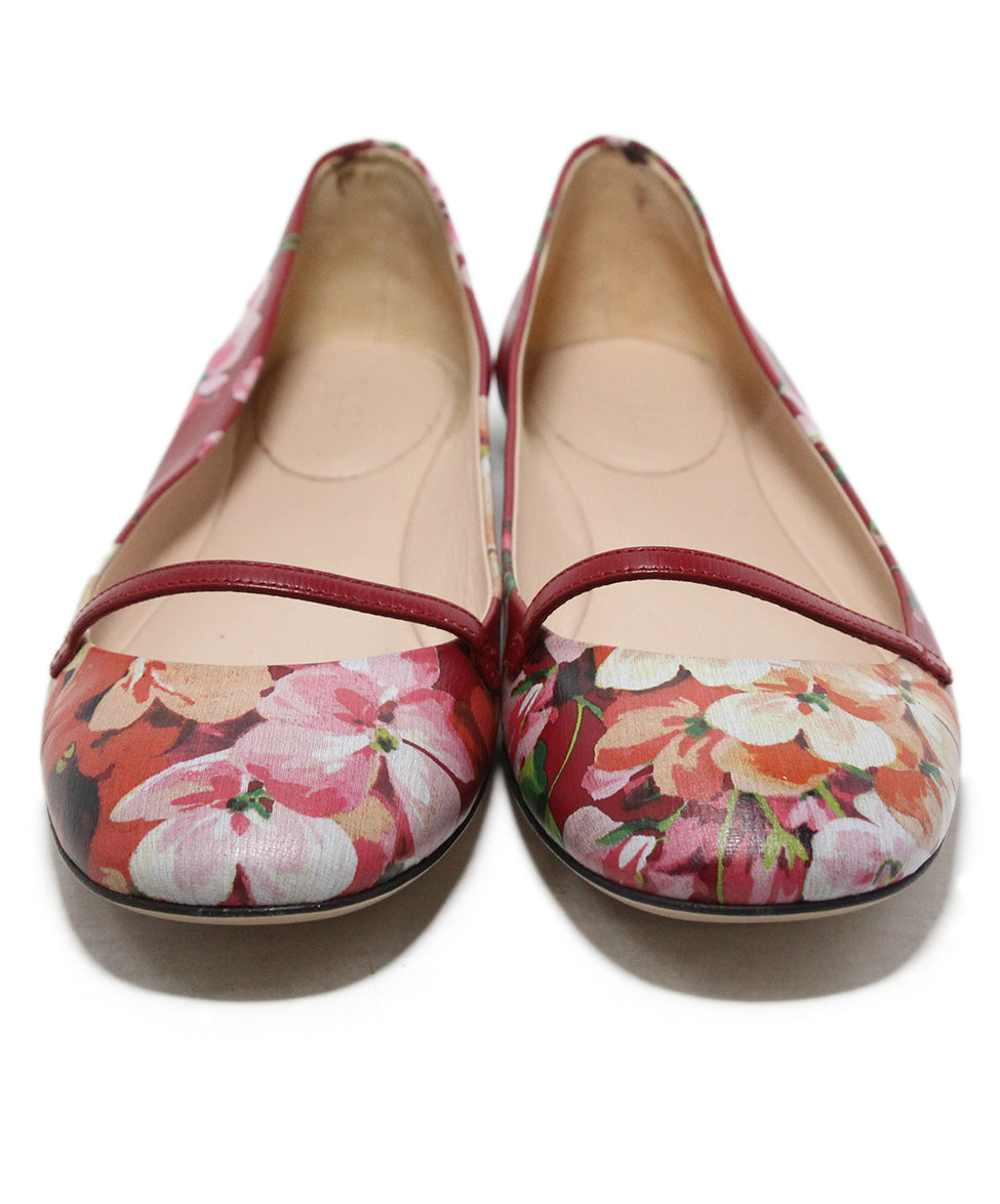 Gucci red floral multi print leather flats 4