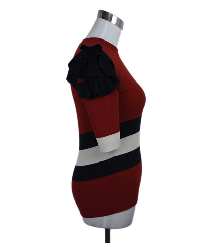 Gucci Red Navy Ivory Wool Ruffle Trim Sweater 1