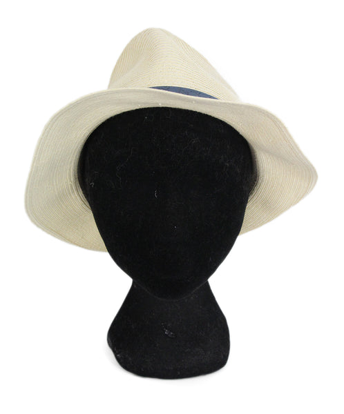 Gucci straw blue leather trim hat 1