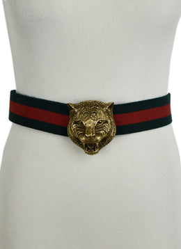 Gucci Green and Red Canvas Belt with Tiger Buckle | Gucci