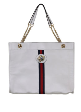 Gucci White Leather Red Navy Stripe Tote Handbag