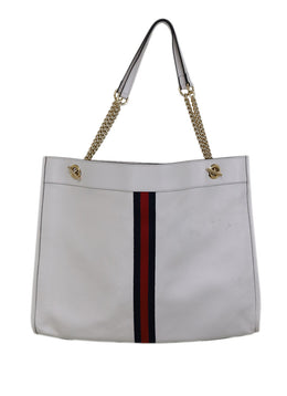 Gucci White Leather Red Navy Stripe Tote Handbag 1