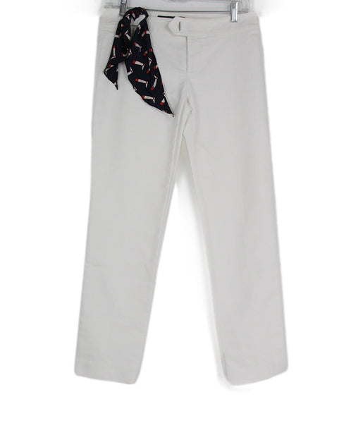 Gucci White Cotton Blue Trim Pants 1