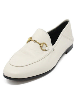 Gucci Ivory Leather Gold Horsebit Loafers