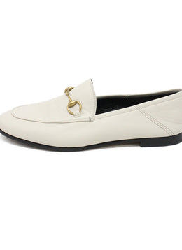 Gucci Ivory Leather Gold Horsebit Loafers 1