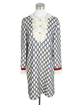 Gucci White Navy Monogram Cotton Lace Dress 1