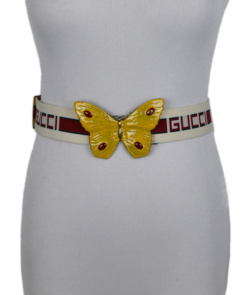 Gucci White Red Green Elastic Yellow Enamel Butterfly Belt 1