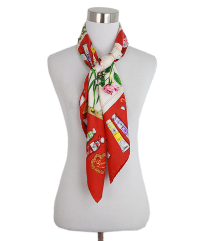 Gucci white red pink green floral scarf 4