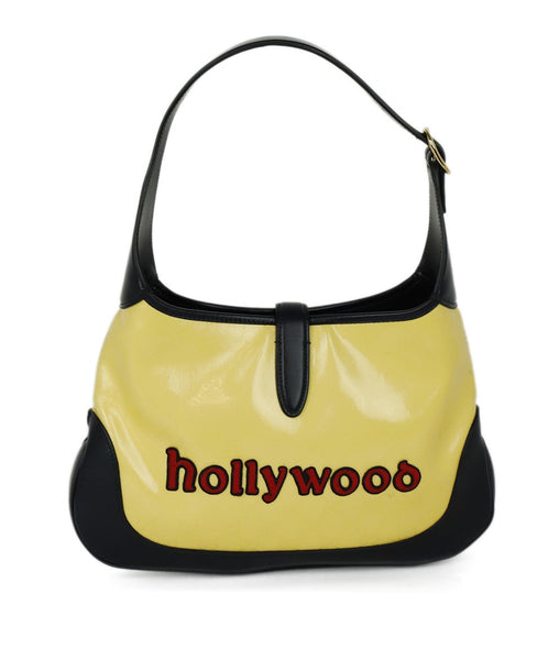 Gold Hardware Push release Gucci Yellow Navy Leather Vinyl W/Dust Bag Handbag 3