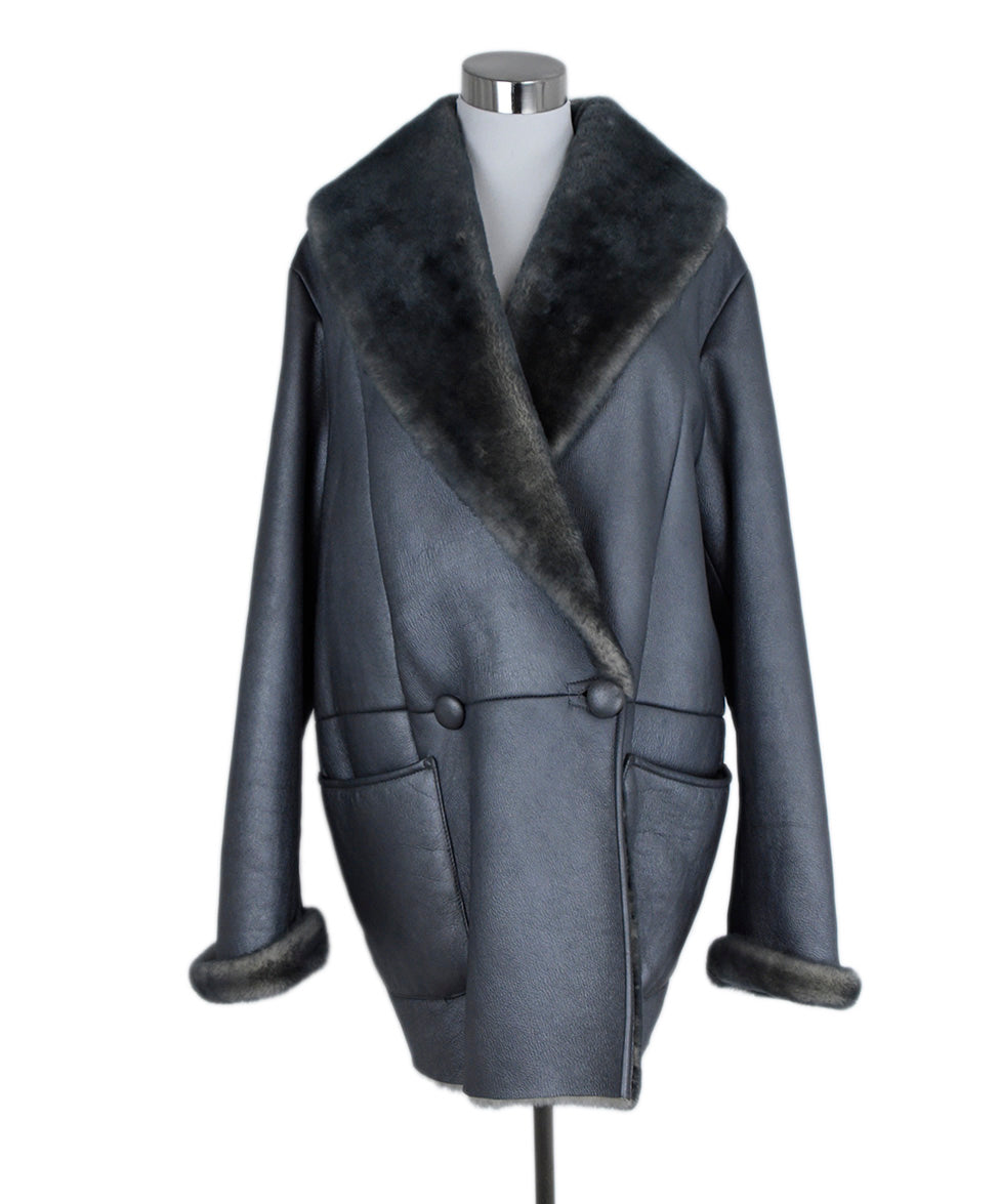 Coat Giuliana Teso Size 4 Metallic Pewter Shearling Outerwear 1
