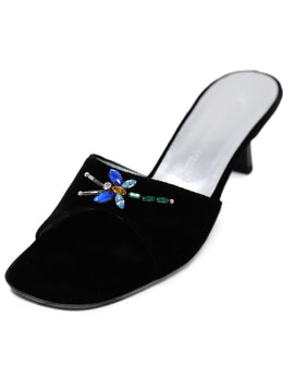 Guiseppe Zanotti Black Velvet Mules With Dragon Fly Beading 1