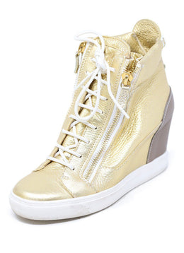 Guiseppe Zanotti Gold Leather Platform Sneakers