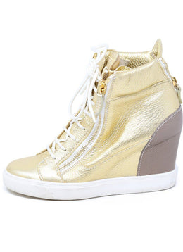 Guiseppe Zanotti Gold Leather Platform Sneakers 1