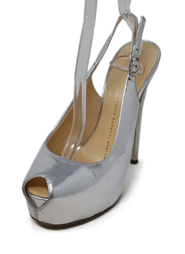 Giuseppe Zanotti Metallic Silver Leather Peep Toe Pumps 1