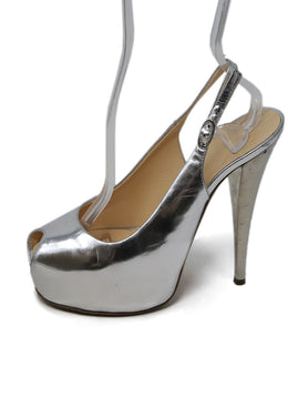 Giuseppe Zanotti Metallic Silver Leather Peep Toe Pumps 2