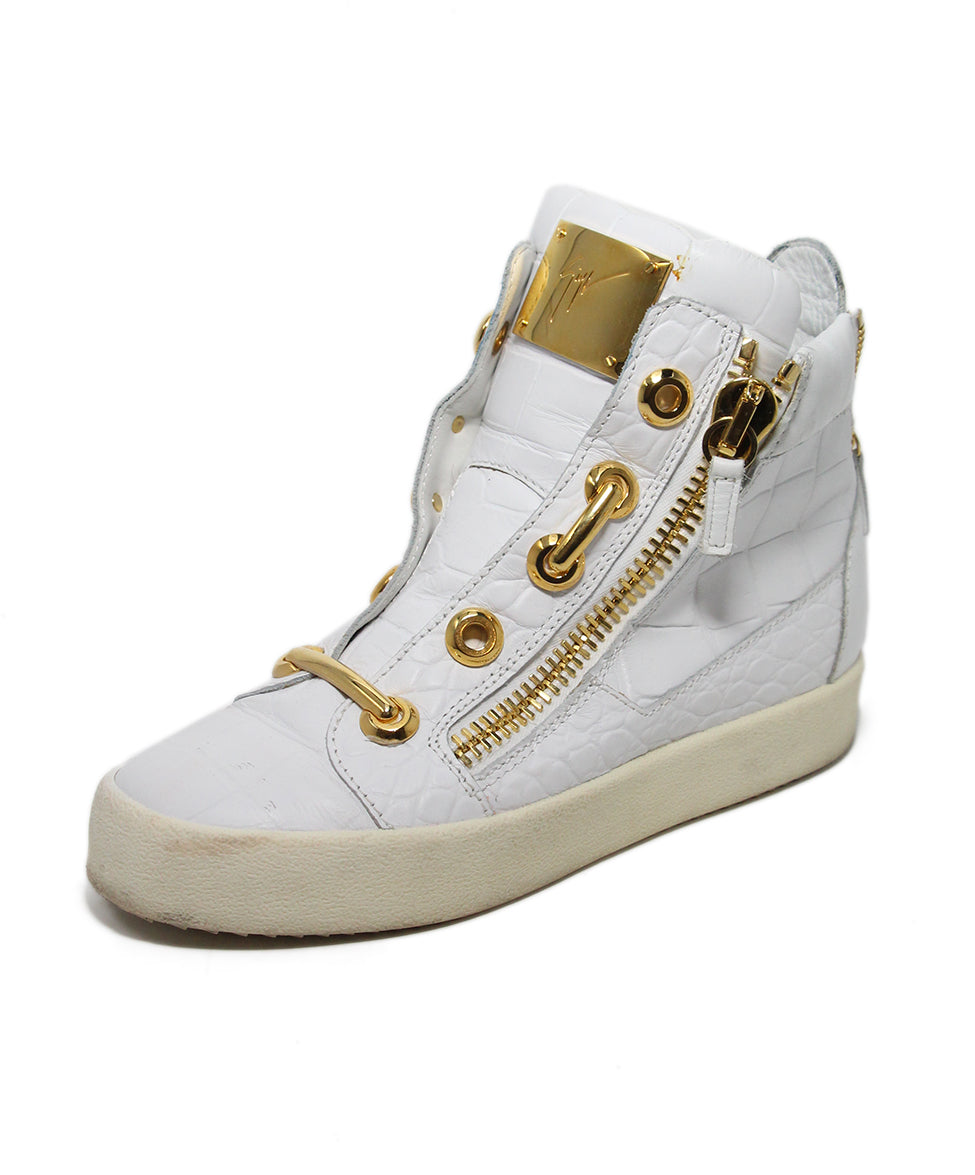 Guisseppe Zanotti White Leather Gold Metal Shoes 1