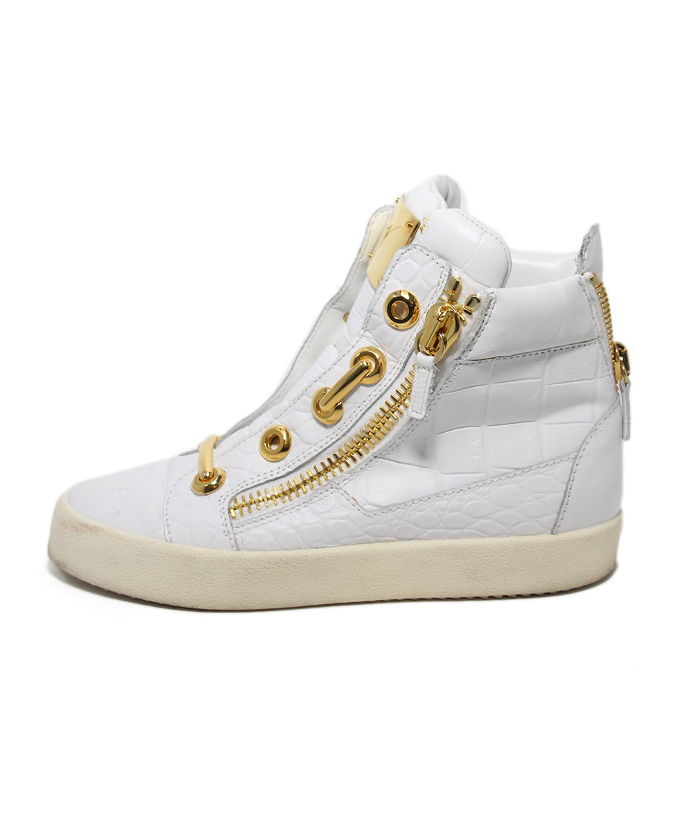 Guisseppe Zanotti White Leather Gold Metal Shoes 2