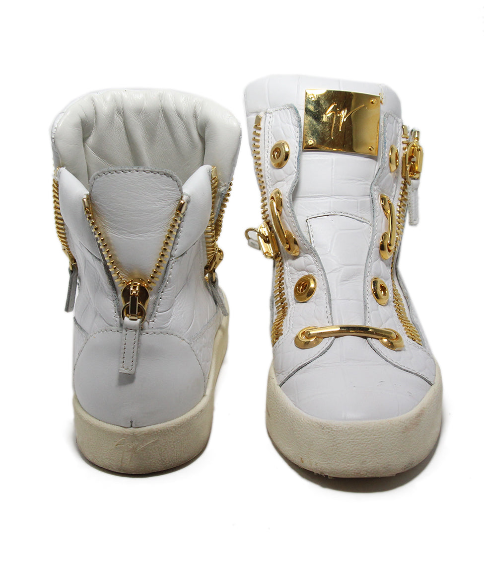Guisseppe Zanotti White Leather Gold Metal Shoes 3