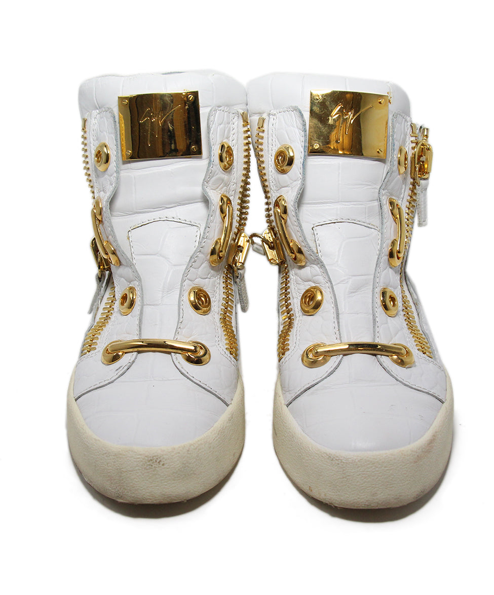 Guisseppe Zanotti White Leather Gold Metal Shoes 4
