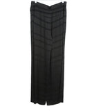 Halston Black Rayon Stripes Pants 1