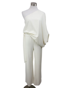 Halston Cream Jumpsuit with Off the shoulder detail 1