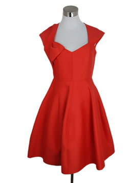 Halston Size 4 Red Coral Cotton Silk Dress 1