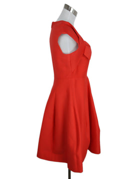 Halston Size 4 Red Coral Cotton Silk Dress 2