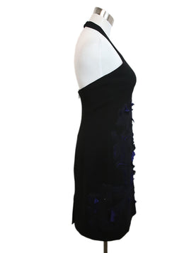 Halston Black Polyester Blue Floral Applique Dress 2