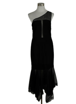 Evening Halston Size 8 Black Nylon Lace Dress 1