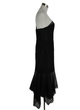 Evening Halston Size 8 Black Nylon Lace Dress 2