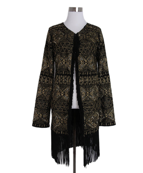 Haute Hippie Black Suede Gold Beaded Fringe Jacket 1