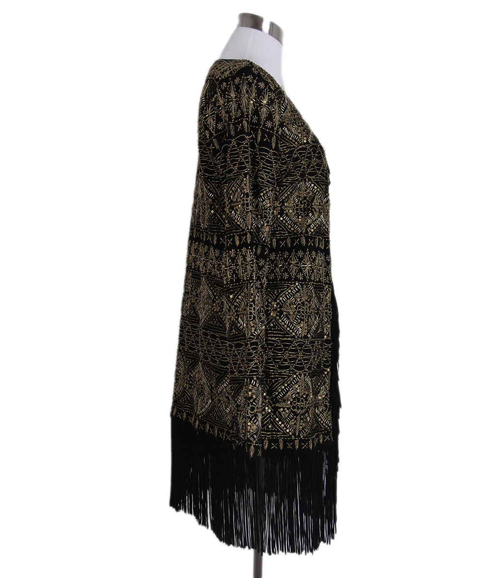 Haute Hippie Black Suede Gold Beaded Fringe Jacket 2