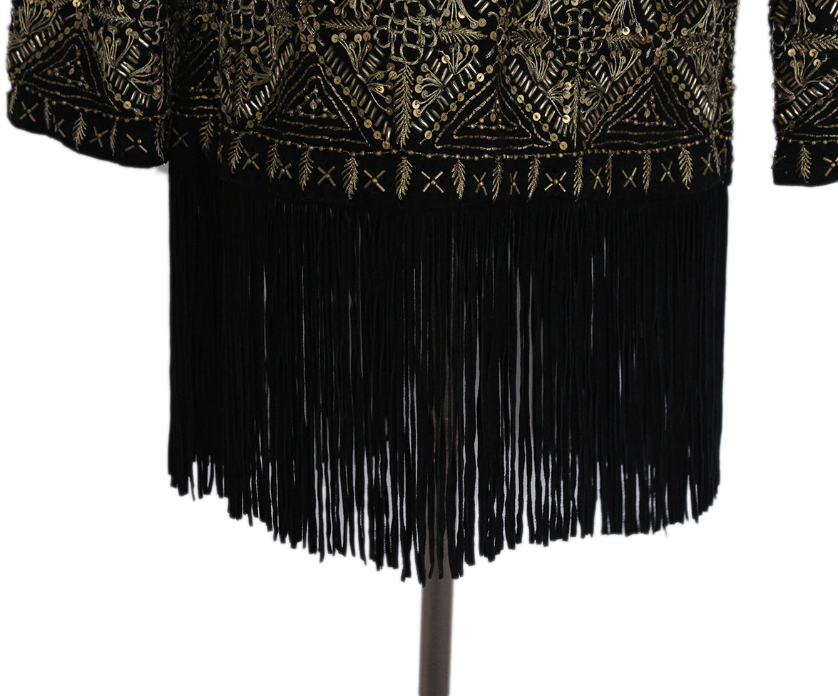 Haute Hippie Black Suede Gold Beaded Fringe Jacket 5