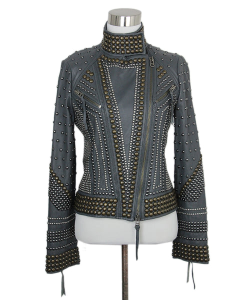Haute Hippie Grey Leather Studs Jacket 1