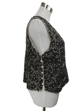 Haute Hippie Metallic Pewter Silver Beaded Top 1