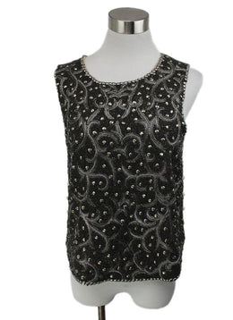 Haute Hippie Metallic Pewter Silver Beaded Top 3