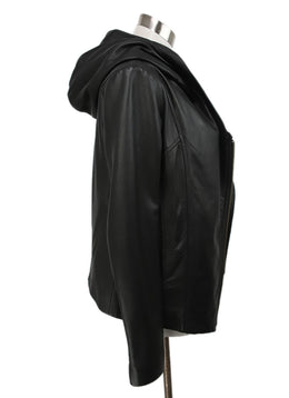 Helmut Lang Black Leather Jacket with Hood 2