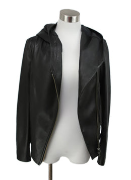 Helmut Lang Black Leather Jacket with Hood 1
