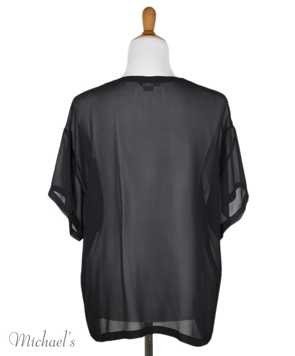 Helmut Lang Black Sheer Rayon Top Sz Large - Michael's Consignment NYC  - 3