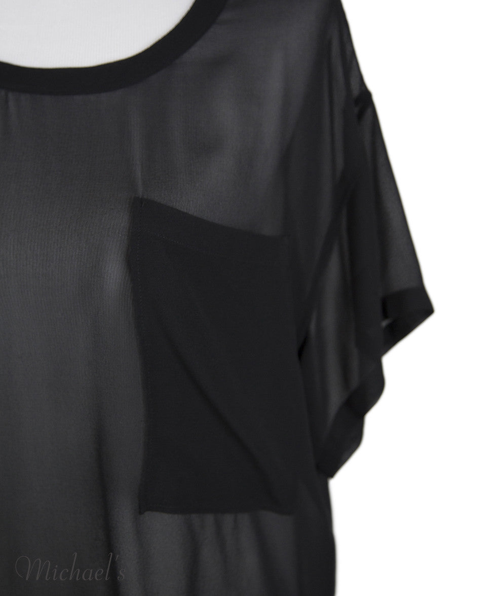 Helmut Lang Black Sheer Rayon Top Sz Large - Michael's Consignment NYC  - 5