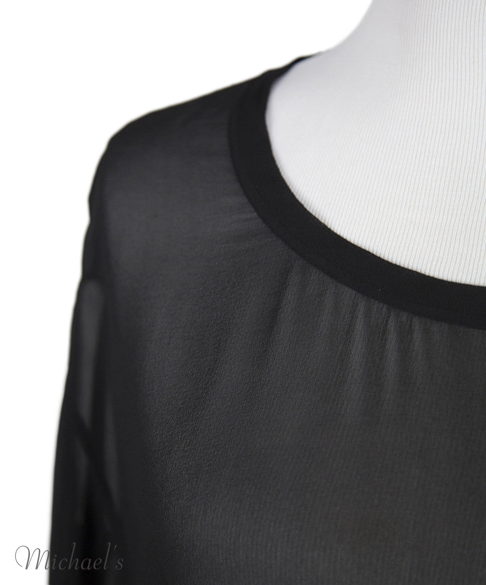 Helmut Lang Black Sheer Rayon Top Sz Large - Michael's Consignment NYC  - 4