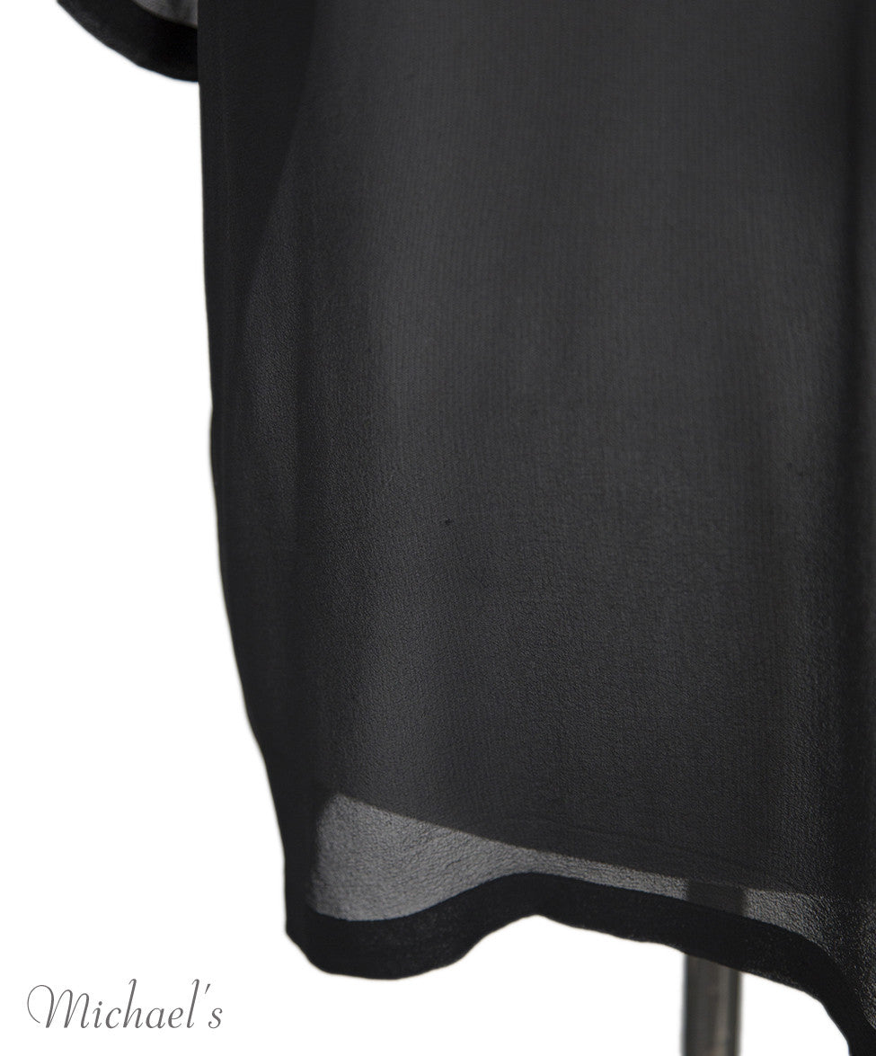Helmut Lang Black Sheer Rayon Top Sz Large - Michael's Consignment NYC  - 6